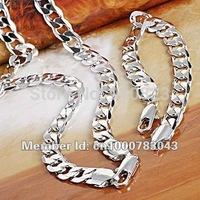 Men's Jewelry Set 18K White Gold Filled Necklace&Bracelet Sets GF Curb Chain Link 132g