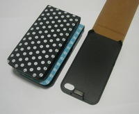 Fashion Lovely Polka Dots Magnetic Closure Vertical Flip PU Leather Case for Apple iPhone 4 4S Cover Phone Bags