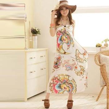 new Bohemia women's Dress.fashion  ladies beach skirts .white/green lovely sleeveless dress ds1001