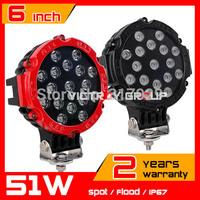 "2pcs 6.3"" 12v 24v 51W LED Work light IP67 For ATV SUV Tractor Offroad Fog Light LED Worklight External Light Save on 55W 60w 72w"