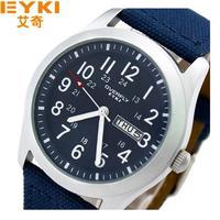 Original box packing EYKI Kimio 30M water-pro Japan Quartz  Canvas Military Army Men's wrist watch with Calendar Week