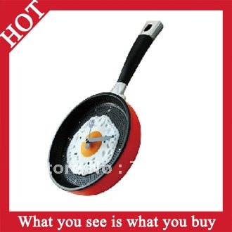 Free Shipping 1pc Green Creative Wall Eggs Pan Clock Shaped  Stylish Fried Eggs Pot Clock -- CLK06 Wholesale