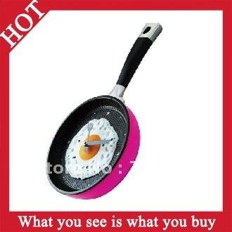 Free Shipping 4pcs creative Wall Clock Fried Eggs Pan Shaped  Fried Eggs Pot Clock  -- CLK06 Wholesale