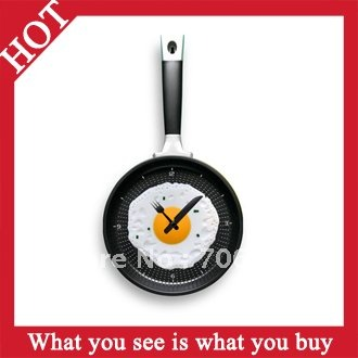 Free Shipping 4pcs creative Wall Clock Fried Eggs Pan Shaped  Fried Eggs Pot Clock  -- CLK06 Wholesale