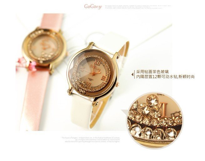 wholesale 2013 new style Korean Nice Run imitation Diamond Leather belt watch.Free shipping.
