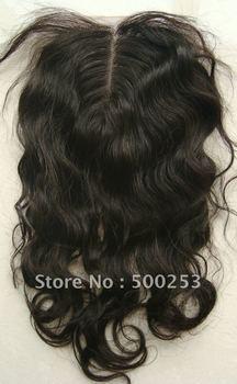 "Loose Curl Middle Part Natural Peruvian virgin hair lace top closure(4""x4"")"