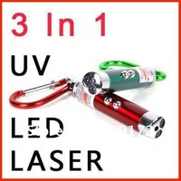 3-in-1 multifunction mini laser pointer, UV +LED + Laser Pointer , laser pen with keychain wholesales,retail,free shipping