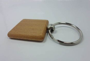 50X Blank Wooden Key Chain Square 1.25''*1.25''  Keychains Free shipping