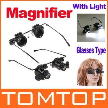 [Unbeatable At $X.99] 20X Watch Repair Glasses Style Magnifier Loupe ( With BATTERY ! ) Dropshipping Wholesale