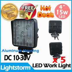 Free Shipping ! 5 pcs/lot Flood or spot beam light 15 W 10-30V LED work light BOAT ATV Tractor offroad truck 4x4(China (Mainland))