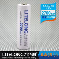 Free shipping (100 pieces/lot) LITELONG AA 1.2v 2700mah Ni-MH Rechargeable Battery Consumer Battery High Capacity
