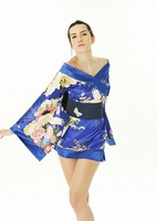 Free shipping! Sexy Gorgeous Printed Silk Satin Yukata Japanese Kimono Lingerie Mini Dress sleepwear Color costume