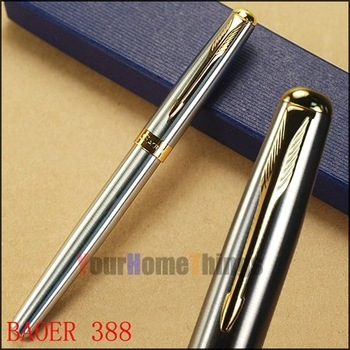 BAOER 388 silver and golden clip roller ball pen free shipping