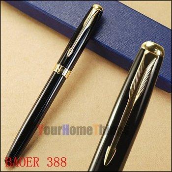 Baoer 388 Black Ripple International Standard Roller Ball Pen Gold Trim Arrow Clip Free Shipping
