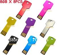 Free Shipping 8PCS X 8GB USB Metal Key Drive Memory Flash Thumb Stick 2.0 Assorted Colors