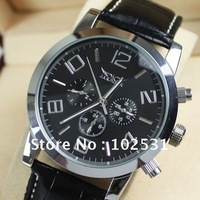 New Fashion JARAGAR Classic  6 hands AutoMechanical Military Watch 12/24H Weekday Date Day Black Leather Water Resistant