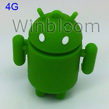 Android Robot USB Memory Stick  2GB 4GB 8GB 16GB True Capacity PVC Jump Drive HKPAM DHL Simple Shipping Solution For Mix Order