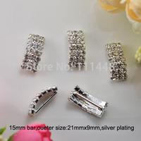 (S0242) 15mm inner bar rhinestone buckle for wedding invitation card,silver or light rose gold plating