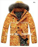 HK Free Shipping Fashion Winter Classic Printing Fur Collars Down Jacket Women Coat Winter Coat