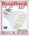 Free shipping LED 3W E27 200-260V SMD3528 Warm White light bulb 30 leds energy saving LED bulb lamp