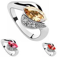 Wholesale Austrian Crystal Rings Korean Fashion Brand 18k White Gold Plated Charm Engagement Rings For Women  508