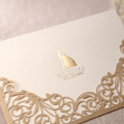 Gorgeous Lace Cut-out Wedding Invitation In Gold (Set of 50) Printable and Customizable Wholesale Free Shipping