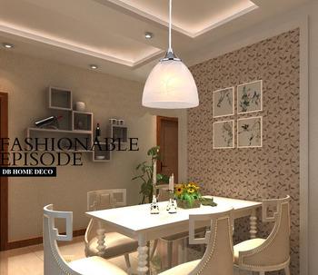 Modern Beige Glass Single head pendant light liustra for dinning room bedroom restaurant lighting liustry lamps