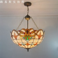50CM European style living room hotel reverse pendant Tiffany lamps glass American bar lighting Hotel Vintage manual welding