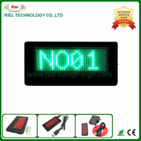 Programmable LED Name Badge Text Card Display Global Languages+Rechargeable Battery Green Free shipping 1pcs/lot