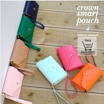 7pcs/lot Hot sell 7 Color PU Leather Crown Smart Pouch/Mobile Phone Case/Cell Phone Bag/Card Case/PU Wallet CX1526
