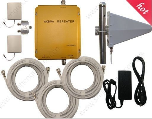 Wholesale WCDMA980 2100Mhz 3G mobile phone signal repeaters WCDMA 3G cell phones boosters with panel antennas 2000sqm coverage(China (Mainland))
