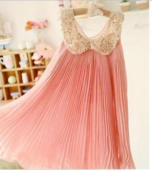 5PCS/LOT  New fashion chiffon toddler girl dresses,Sequin,Fold,beautiflu Pink Green good quality