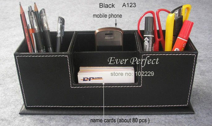 double pen pencils holder stationery name cards note holder desk organizer mobile cell phone holder accessories A123(China (Mainland))