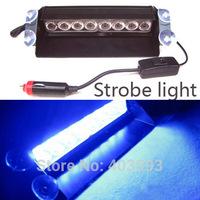 Police Car Light Flashing Firemen Fog Lights Blue 8 LED High Power Strobe Flash Warning EMS 8LED