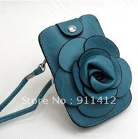 Beautiful camellia purse rose wallet Mobile Phone Bags