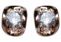 Min.order is $10 (mix order) clear crystal 18k rose gold plated woman fashion stud earrings free shipping E145
