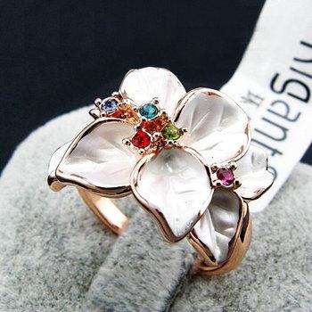 hotsale  rigant 18K Gold Plated epoxy flower rhinestone retro rings fashion women costume jewellery