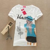 2014 Fashion New Cotton T Shirt Women Tops Print T-shirts F09