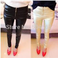 2014 New Women's Leather Pencil Pants Fashion Skinny Zip Up Skinny Leggings Black Fitness Legging PT-048