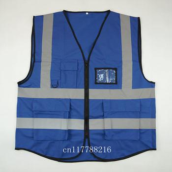 Blue Safety Vest Hi Vis Reflective Vest-Size S M L XL XXL 3XL 4XL