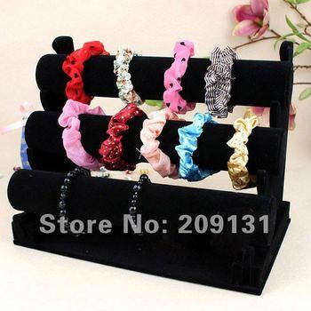 3 rows black velvet bracelet bangle display Stand bangle display watch holder bracelet display stand Jewelry holder display rack