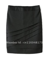 New Fashion OL Wrapped One-step Ribbed Black Pencil Skirt Suit Career Skirts