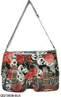 Free shipping ! 2013 Summer Hot Selling  Lady's Fashion Print Handbag Women Bags Floral Handbags with Skull Designs BLACK
