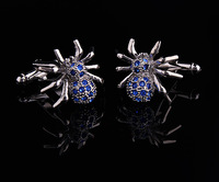 High Quality  Freeshipping 1pair/Lot  Blue Spider Shape Crystal Cuff Link And Sport Men Cufflink