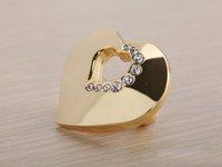 K9 Crystal Glass Gold Love Heart Handle Knob Cabinet Door New (Size: 35MM*20MM)
