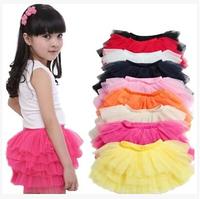girls tutu skirts baby ballerina skirt childrens chiffon fluffy pettiskirts kids Hallowmas silk casual skirt
