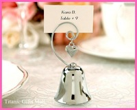 Kissing Bells Place Card holder 100PCS/LOT Silver Bell with Dangling Heart Charm Free shiping