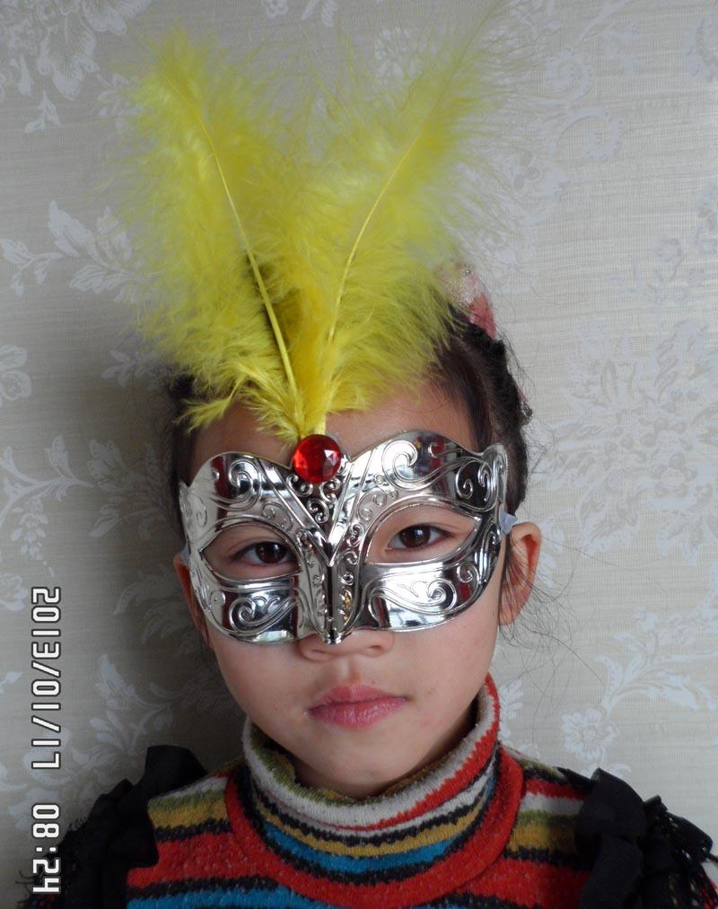 2013 fashion plating feather party mask venetian masquerade ball decoration mardi gras costume free shipping TAOS(China (Mainland))