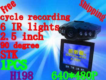 Free Shipping Car Dvr With 6 IR LED Night Vision Car Dvr Recorder H198+Retail Box(P-02C)