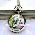 JW049 4 Designs Multifunctional Classic Elegant  Mirror Pocket Watch  Birdcage Quartz  watch ( with necklace)Free Shipping